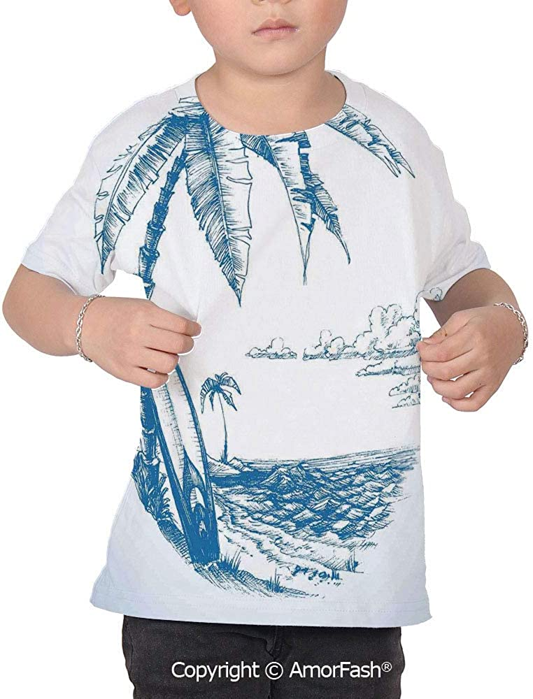 PUTIEN Surf Decor Decor Childrens Short Sleeve Cool T-Shirt,Polyester,Contemporary Ske