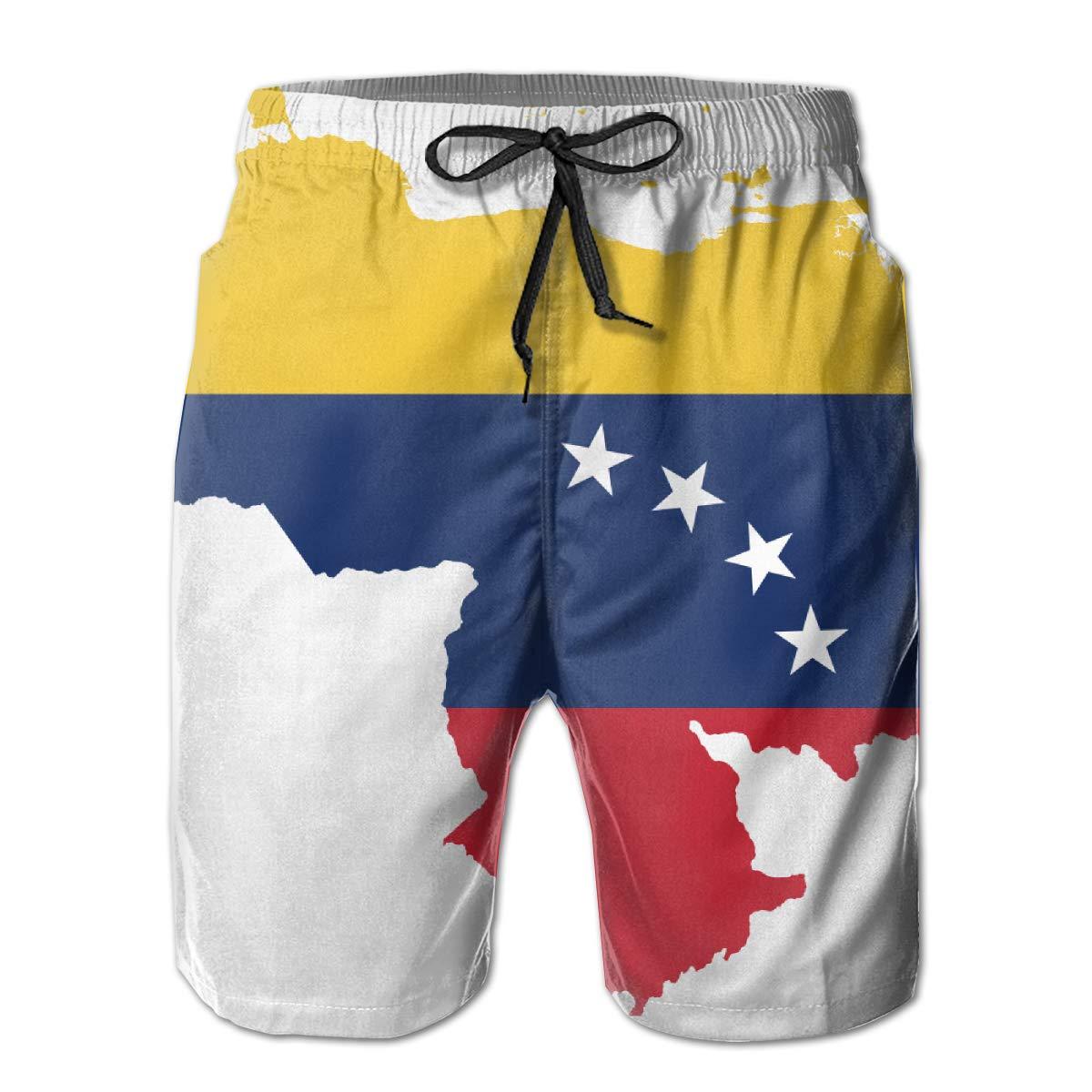 KIENGG Mens Swim Trunks with Mesh Lining Pockets Venezuela Flag Map Boys Polyester Board Shorts Swimwear