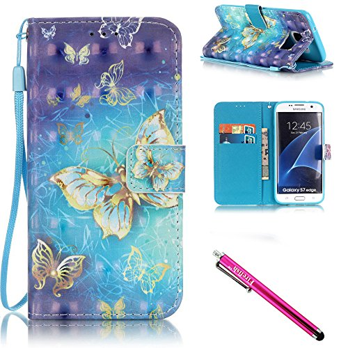Price comparison product image Galaxy S7 edge Case,  Firefish Kickstand Flip [Card Slots] Wallet Cover Double Layer Bumper Shell with Magnetic Closure Strap Case for Samsung Galaxy S7 edge-Butterfly