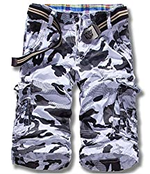 LOVECC Men's Summer Cotton Relaxed Fit Camo Cargo Shorts(No Belt)