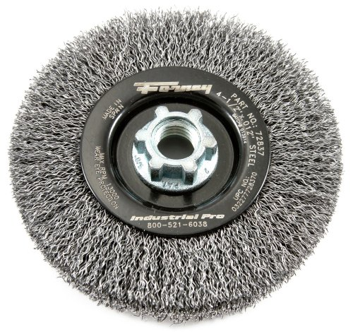 Angle Grinder Wire Wheel - Forney 72837 Wire Wheel Brush, Industrial Pro Crimped with 5/8-Inch 11 and M14-by-2.0 Multi Arbor, 4-1/2-Inch-by-.012-Inch