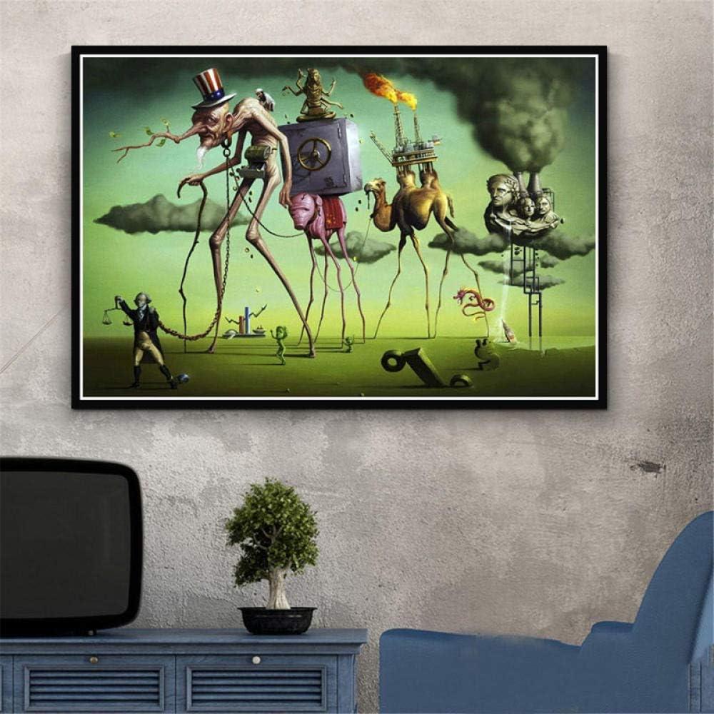 Flduod Póster e Impresiones Pintura psicodélica Retro Salvador Dalí Surrealismo Arte de la Pared Cuadros Abstractos para Sala de Estar Decoración del hogar-Sin Marco 40x60cm