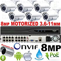 USG Business Grade Sony IMX274 Chip : 8MP 3840x2160 Ultra 4K 6 Camera Security System : 32 Channel NVR 16x PoE Ports + 6x 8MP MOTORIZED 3.6-11mm Lens Bullet Cameras + 1x Outdoor Mic : Phone App