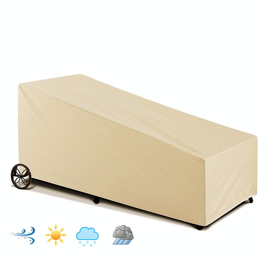 Patio Weatherproof Single Chaise Lounge Cover, Water-Resistant, Outdoor All Weather Protection, Beige Color ( 84 L x 34 W x 34H)