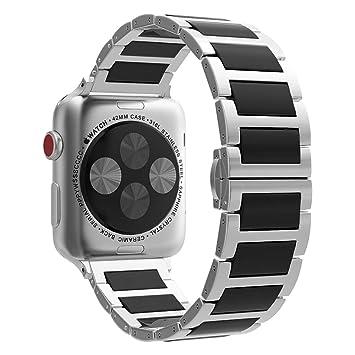 MoKo Correa para Apple Watch SERIES 5/4/3/2/1 - Reemplazo SmartWatch Band de Reloj de Acero Inoxidable Cerámica Enlace con Hebilla Mariposa para 2015 ...