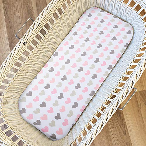 Ingenuity Chicco Lullago Bassinet Sheets Set 2 Pack for Boys /& Girls by Cuddly Cubs Soft /& Breathable 100/% Jersey Cotton Bjorn Pink Bow /& Chevron Fits Oval Halo Fitted Elastic Design