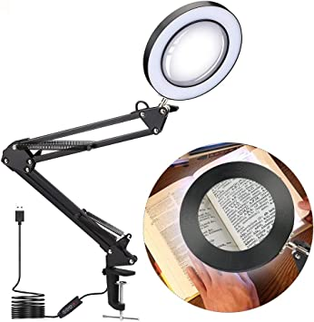 Table Desk Clamp LED Magnifier Light for Craft Reading 5X Magnifying Glass Lamp