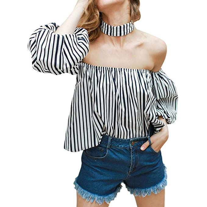 Mujeres Camisetas,PANY Atractivas Fuera del Hombro Volantes con cordonesBlusa Camisa Mujeres Manga Larga Blusa