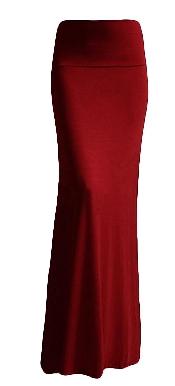 9023cd0b4f4b1 Azules Women S Rayon Span Maxi Skirt - Burgundy 2X at Amazon Women s  Clothing store