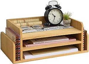 Kirigen Wood 3-Tier Office Desktop Document Tray - Mail Sorter Organizer Rack - Wooden Document Letter Stand for Folders, Mail, Stationary, Desk Accessories Natural(2TP-NA)