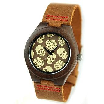 GXS mesa divertido reloj de pulsera / correa de cuero / ébano hombre / reloj del Medio Ambiente: Amazon.es: Relojes