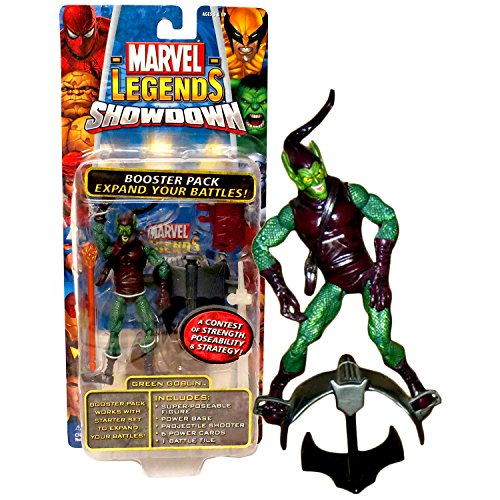 MLG Year 2006 Marvels Legends Showdown Series 4 Inch Tall Figure - Green Goblin with Glider Base, Missile Shooter, Power Cards and Battle Tile
