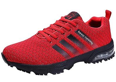 wholesale dealer 3afb1 6b157 HMIYA Damen Herren Laufschuhe Sportschuhe Turnschuhe Trainers Running  Fitness Atmungsaktiv Sneakers (44 EU, Rot)