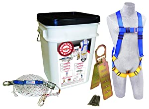 3M Protecta Compliance In A Can, 2199803, Roofers Kit, 5-Point Harness, Reusable Roof Anchor, Rope Grab, 50' Rope Lifeline, White Bucket