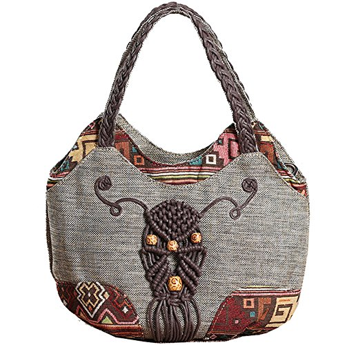 Boho Travel Tote Bag Embroidered Grey Beach Handbag Womens Chic SqwxBX7HSd