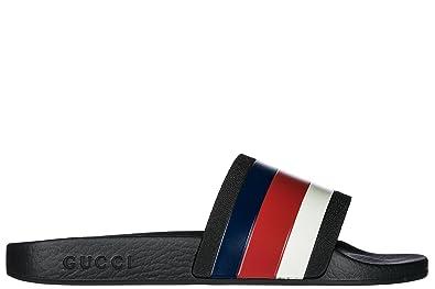 237295522ba55d Gucci Mules Sandales Chaussons Homme en Caoutchouc Sylvie Noir ...