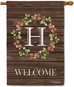 BAGEYOU Welcome Wreath Floral Spring Summer Decorative House Flag Monogram Initial H Decor Yard Banner Family Flag 28x40 Inch Printed Double Sided