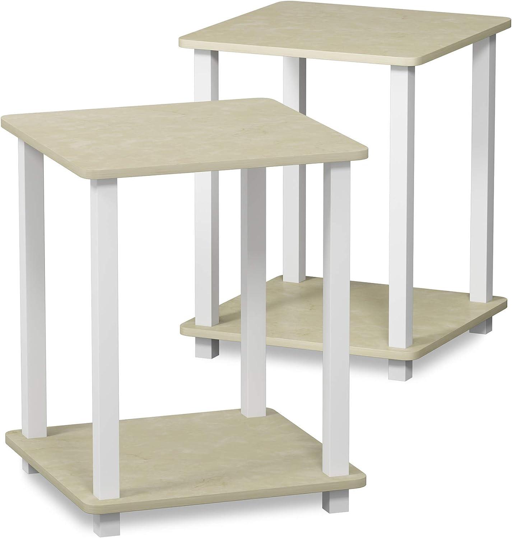 Furinno Simplistic End Table, French Oak Grey/Black
