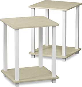 Furinno 12127CRM/WH Simplistic Set of Two End Tables, Cream Faux Marble