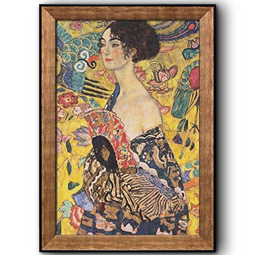 Woman with Fan (or Lady with Fan) by Gustav Klimt Framed Art