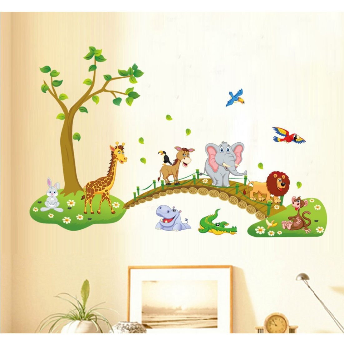 Tandi Kids Child Nurseries Baby Room Wall Decals Stickers Flowers Wild Animals Jungles (Wild Animals 140(W)X90(H) CM) Amazon.co.uk DIY u0026 Tools  sc 1 st  Amazon UK : wall decal for baby room - www.pureclipart.com