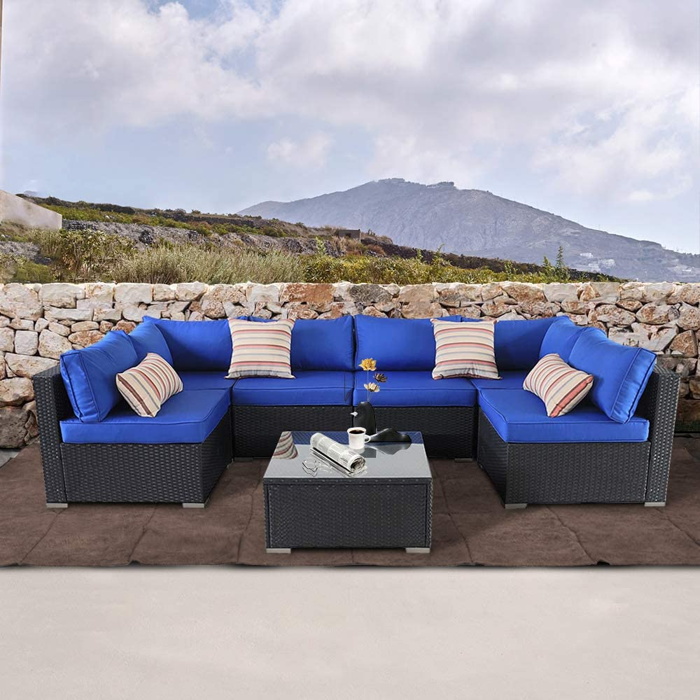 Patio Sofa Outdoor Rattan Couch Wicker 7PCS Sectional Conversation Sofa for Christmas Lawn Garden Patio Furniture Set New Black Royal Blue Cushion