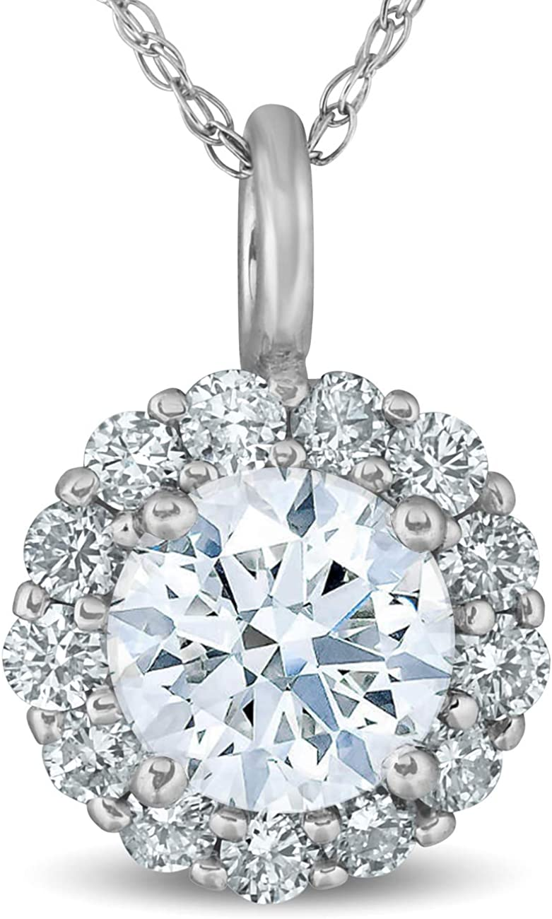 1ct Genuine VS Lab Created Diamond Coated Solid 14K White Gold Pendant Necklace