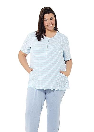 e55223d92 Pyjama d été Femme Grande Taille. Divers imprimés. Manches Courtes et  Pantalon Long Grandes Tailles. Mabel big Beauty Tailles 50 à 70.
