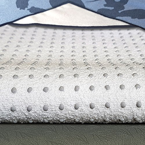 "M YOGA Yoga Towel(24""x72""), NON SLIP & Skidless Yoga Towel, Silicone Dots & Anchor Fit Corners, Stop Slipping During Bikram, Pilates & Hot Yoga, Machine Washable Microfiber Hot Yoga Towel"