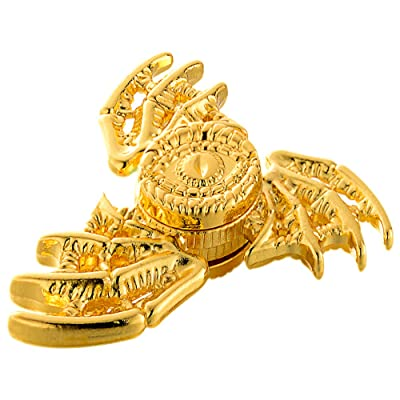 MAYBO SPORTS Wiitin Cool Dragon Wings Eyes Fidget Spinner Toy Made by Metal, Low Noise High Speed Focus Toy with Steel Self-Lubricating Bearing,Phoenix,Shiny Golden Color: Toys & Games