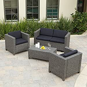 amazon patio furniture puerta all weather wicker conversation set 10987