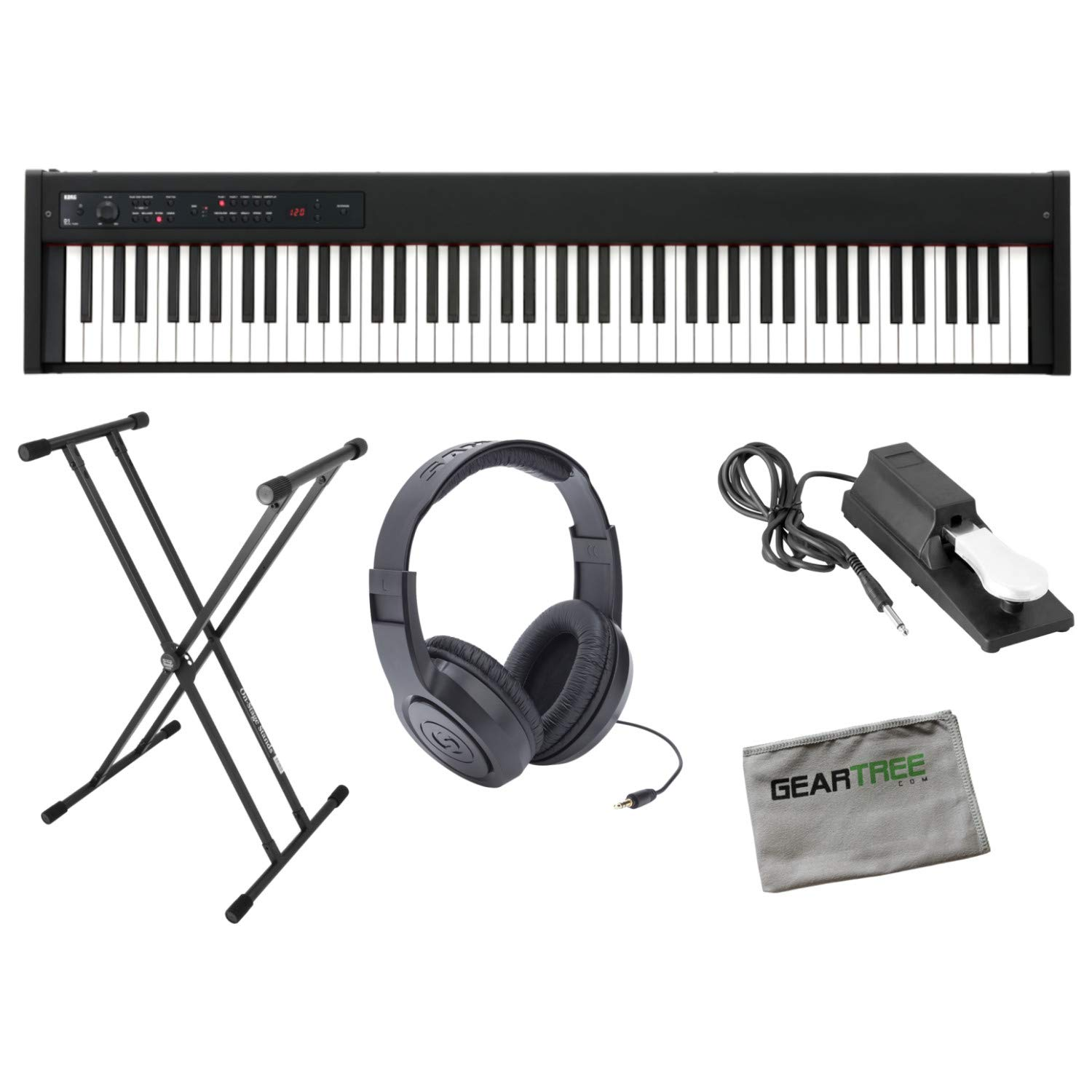 Korg D1 Slimline 88-Note Weighted Digital Stage Piano w/Sustain Pedal, Stand, He