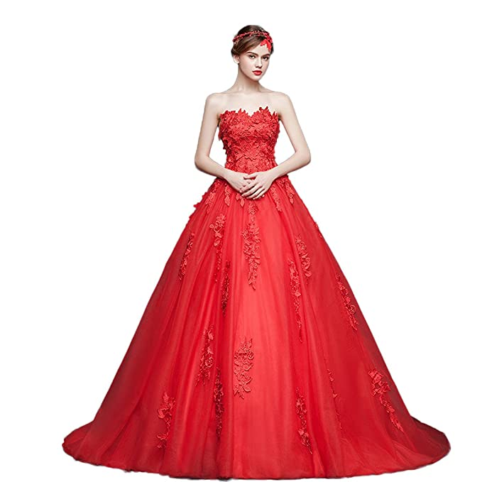Xnaihuafei de encaje rojo único Trailing novia vestidos de novia vestido de novia Rojo rosso 44
