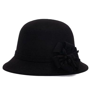 3edc929f1a1 Amazon.com  Hot Vogue Women Vintage Imitation Wool Rose Flower Felt Fedora  Hats Cloche Bucket Cap Dome