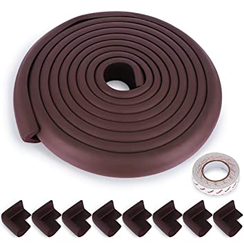Baby Proofing Edge and Corner Guards,NBR Rubber Set for Safe Edge /& Corner Guards Cushion,23Ft Black ,Child Safety Furniture Bumper 19.68Ft Edge + 8 Corner