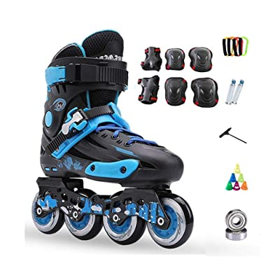 Sljj Inline Skates, Adult Single Row Skates Professional Men and Women Roller Skates Child Full Set (3 Colors) (Color : Black, Size : 38 EU/6 US/5 UK/24cm JP): Home & Kitchen