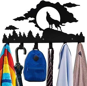Wall Mounted Animal Coat Rack,Kathy Christmas Gift Wolf Towel Hooks for Kids Bathrooms Hanging Bag Umbrella-6 Hooks,Black