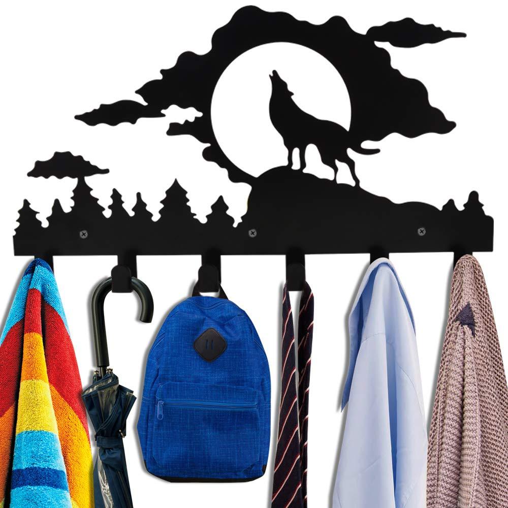 Wall Mounted Coat Rack,Kathy Metal Towel Hook Rack Moon Cloud Animal Wolf Hanger for Bathrooms Kitchen Door Hanging Key Robe Belt Bag Umbrella-6 Hooks,Black