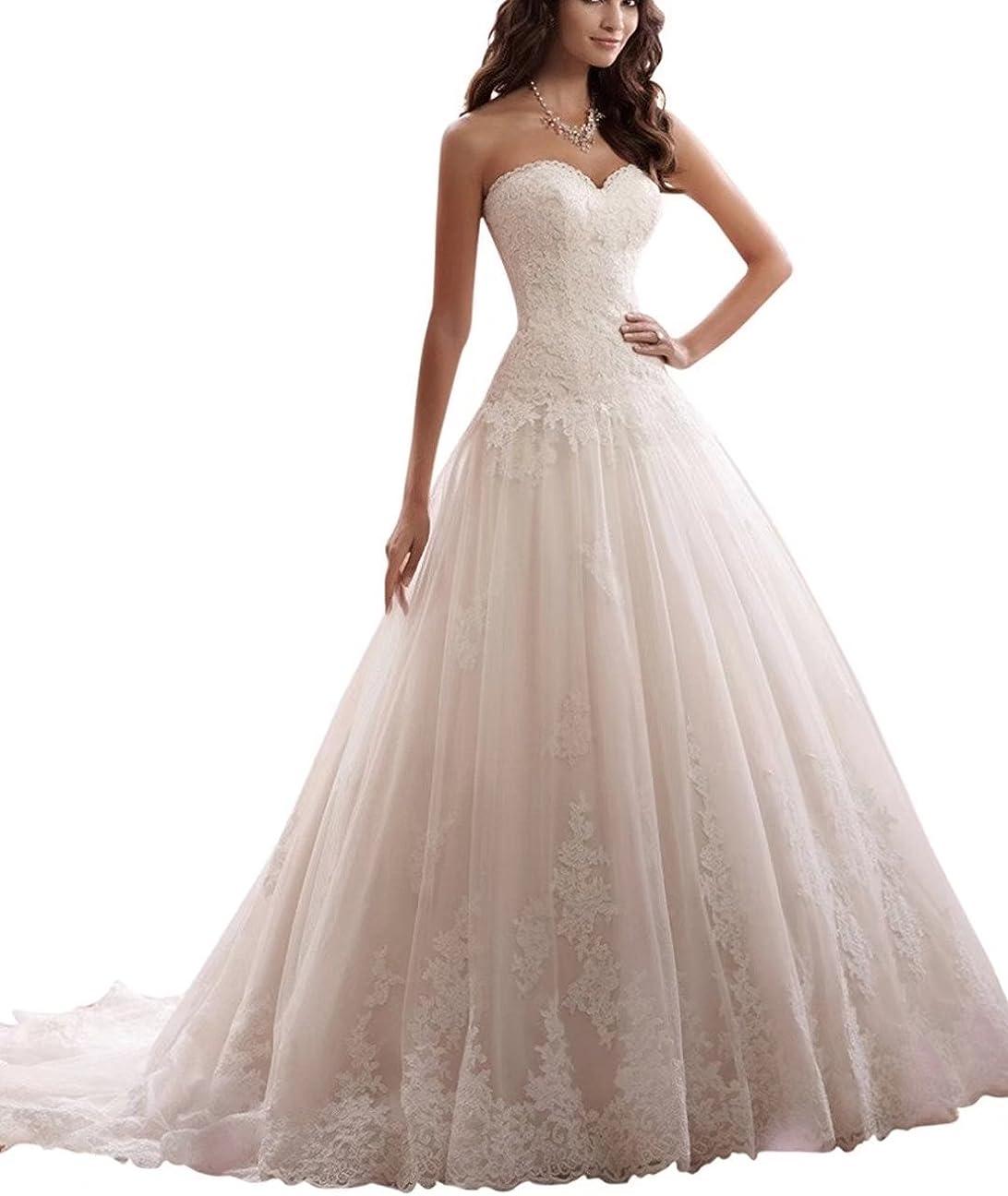 Lilybridal Brautkleider für die Braut aus Schulter Kristall Perle Spitze  Hochzeitskleider 19