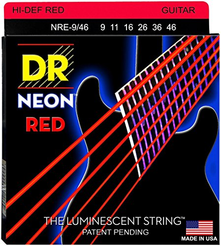 DR Strings Hi-Def NEON Red Coated Lite-Heavy (9-46) Electric Guitar Strings by kpop