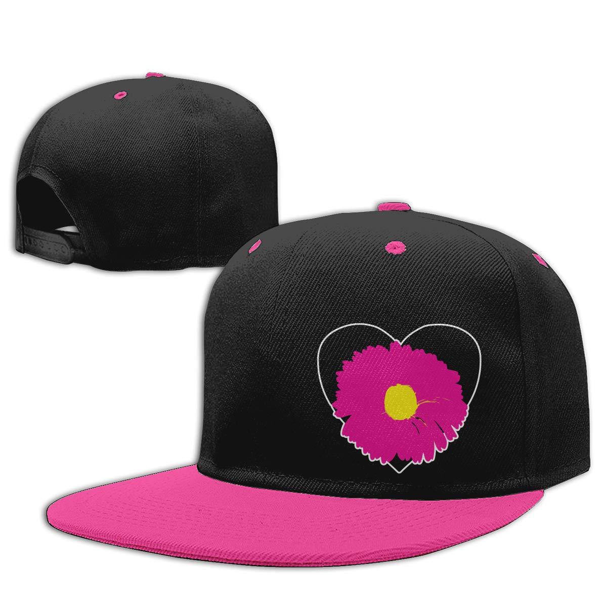 Black Heart Pink Flower Adjustable Hip-Hop Baseball Caps NMG-01 Women Men Trucker Cap
