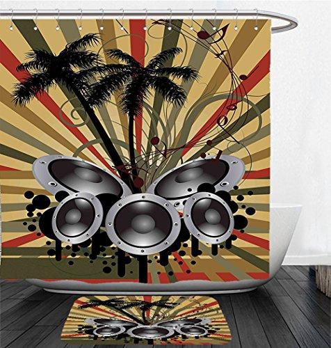 Nalahome Bath Suit: Showercurtain Bathrug Bathtowel Handtowel Modern Palm Trees Striped Ombre Backdrop Music Loudspeaker Art Print Red Tan Hunter Green Black Grey Angle Loudspeaker