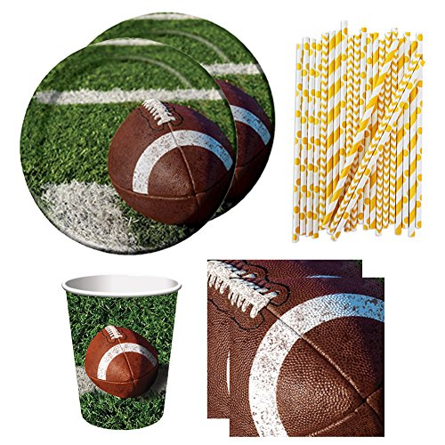 Cedar Crate Market Football Tailgate Rush Party Pack for 16 Guests - Dinner Plates, Luncheon Napkins, Cups, and ()