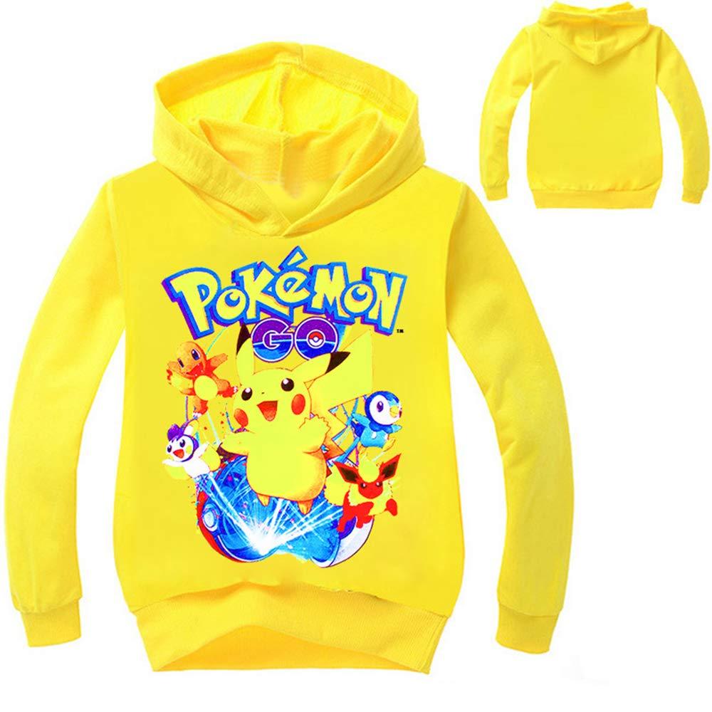 Unisex Pokemon Suéter con Capucha de los niños Sudaderas con Capucha de Dibujos Animados Sudaderas con Capucha Abrigo con Capucha Abrigo De Flores: ...
