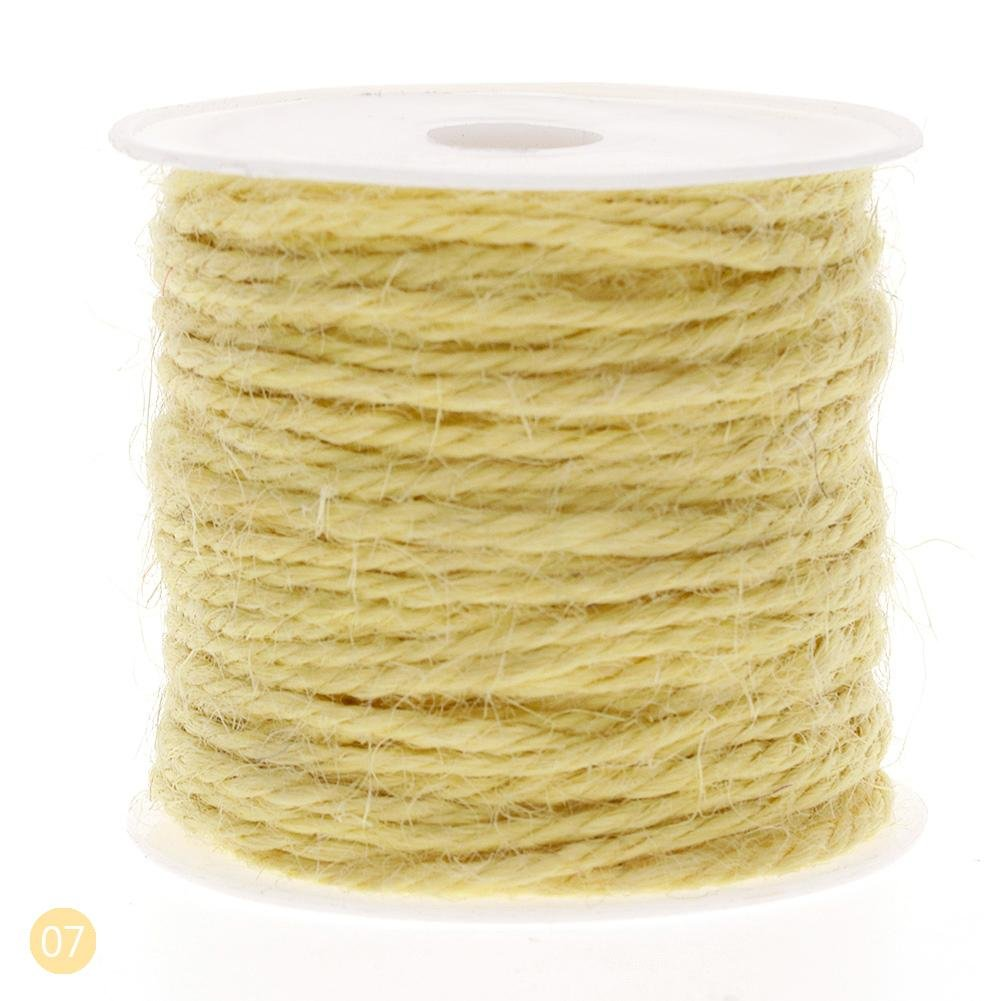 Niome String Hemp Jute, 12 Surprise Color Rolls for Artworks, DIY Crafts, Gift Wrapping, Picture Display and Embellishments 07-Yellow