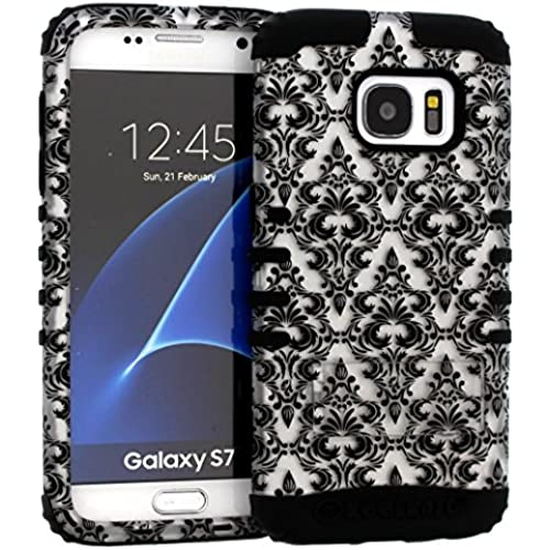 Galaxy S7 Case, Hybrid Kickstand Shockproof Impact Resistant Cover W Damask Flower Over Black Skin for Samsung Galaxy S7 Sales