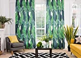KARUILU home Window Curtain With Summer Mood (52W x 84L, Green Banana Leaves A)