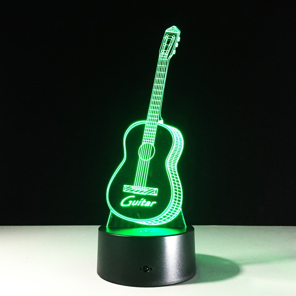 Night lights Guitar 3D visual Illusion colorful Multi-colored Change USB Touch Button LED Desk Lamp, table Light for Home Room Decorative or Gifts for Friends Kids Festival