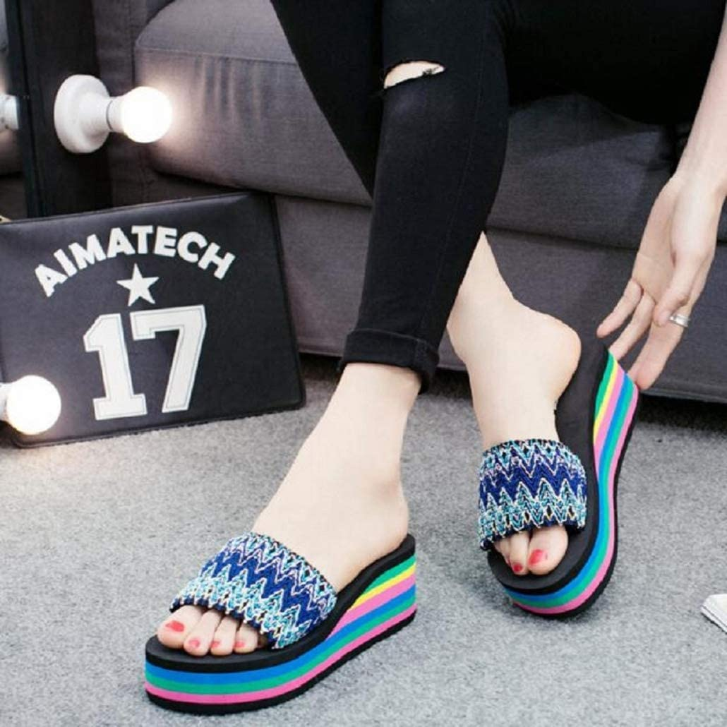 Photno Women Slippers Boho Platform Sandals Summer Wedge Slides Casual Slip On Flats Outdoor Flip Flops