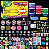 HSETIY Super Slime Kit Supplies-12 Crystal Clear Slimes with 54 Packs Glitter Sheet Jars, 3 Jelly Cubes,4 Pcs Fruit Slices,16 pcs Animals Beads, Foam Balls,5 Slime Containers with DIY Art Crafts